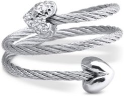 White Topaz Heart Wrap Ring (1/10 ct. t.w.) in Stainless Steel & Sterling Silver
