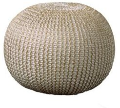 Bone Hand-Knitted Pouf
