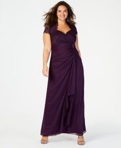 Plus Size Sequined-Lace Ruched Gown