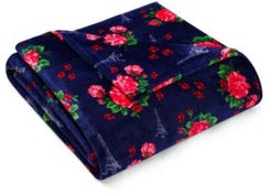 French Floral Passport Blue Twin Blanket Bedding