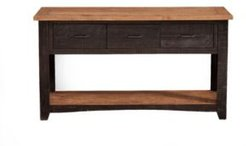 Rustic Collection Sofa - Console Table, Antique Black And Honey Tobacco