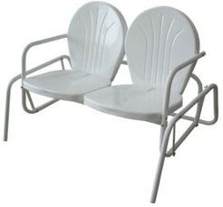 Offex Metal Powde Coat Finish Double Seat Glider Chair - White