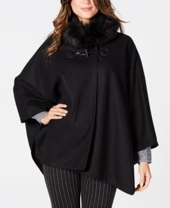 Faux-Fur-Collar Cape