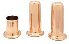 International 4 Solid Copper Salt and Pepper Set with 2 Toothpick Holder
