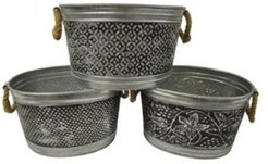 "Kindwer Set of 3 Antiqued 14"" Metal Tubs"