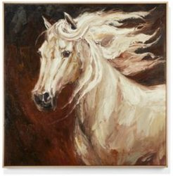 Horse Hand-Painted Canvas Wall Art - Ash Tree Wood/Oil Paint/Canvas/Metal
