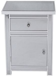 Heather Ann Emmy Mirrored Accent Cabinet with Drawer