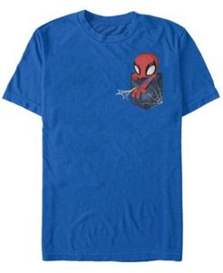 Fifth Sun Marvel Men's Spider-Man Left Chest Pocket Short Sleeve T-Shirt