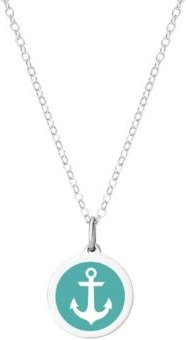 """Mini Anchor Pendant Necklace in Sterling Silver and Enamel, 16"""" + 2"""" Extender"""