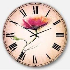 Floral Oversized Round Metal Wall Clock