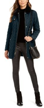 Faux-Leather Trim Belted Faux-Fur Quilted Coat