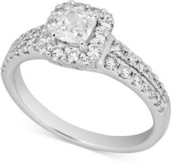 Diamond Cushion Halo Engagement Ring (1-1/5 ct. t.w.) in 14k White Gold