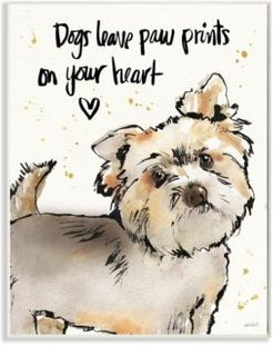 "Dogs Leave Paw Prints in Your Heart Wall Plaque Art, 10"" x 15"""