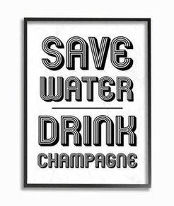 """Save Water Drink Champagne Framed Giclee Art, 11"""" x 14"""""""