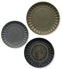 Assorted Antiqued Metal Finishes Traditional Set of Three Metal Trays