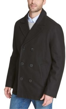 Wool Blend Peacoat with Scarf