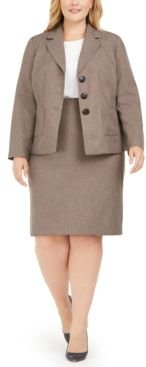 Plus Size 3-Button Slim Skirt Suit