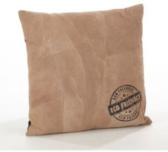 """Stamped Design Leather Throw Pillow, 16"""" x 16"""""""