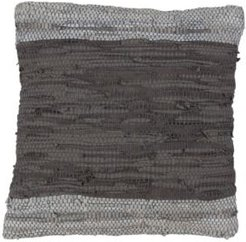 """Chindi Woven Leather Design Throw Pillow in Two-Tone Grey, 18"""" x 18"""""""