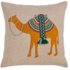 """Beaded Camel Embroidery Throw Pillow, 18"""" x 18"""""""