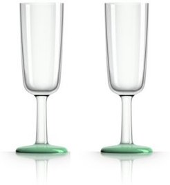 by Palm Tritan Flute Glass with Green non-slip base, Set of 2