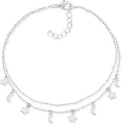 Moon & Star Charm Two-Row Anklet in Fine Silver-Plate