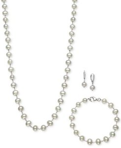 Sterling Silver Set, Tin Cup White Cultured Freshwater Pearl Necklace, Bracelet, and Earrings