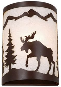 Yellowstone 1 Light Rustic Moose Wall Sconce Indoor or Outdoor