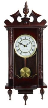 """Clock Collection Classic 31"""" Chiming Wall Clock with Roman Numerals and a Swinging Pendulum"""