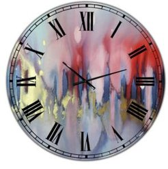 """Chinook Composition of Red Blue and Yellow Oversized Modern Wall Clock - 23"""" x 23"""" x 1"""""""