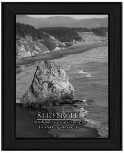 "Strength By Trendy Decor4U, Printed Wall Art, Ready to hang, Black Frame, 15"" x 19"""