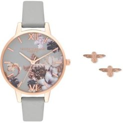 Gray Leather Strap Watch 34mm Gift Set