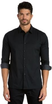 Solid Long Sleeve Sport Shirt with Contrast Print