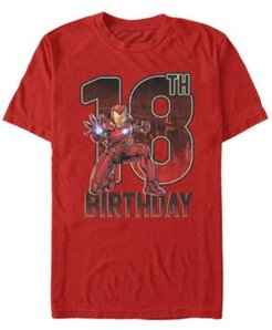 Fifth Sun Men's Marvel Iron Man 18th Birthday Action Pose Short Sleeve T-Shirt