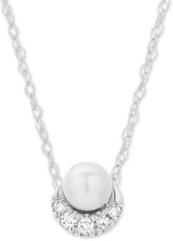 """Diamond Accent & Cultured Freshwater Pearl (8-1/2-9mm) 16"""" Pendant Necklace in Sterling Silver"""