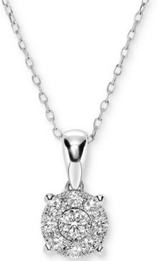 """Diamond Miracle Plate Cluster 18"""" Pendant Necklace (1/4 ct. t.w.) in 14k White Gold"""