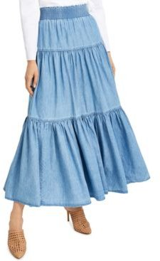 Inc Tiered Chambray Maxi Skirt, Created for Macy's