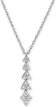 """Lab Created Diamond Linear Cluster 18"""" Pendant Necklace (1/2 ct. t.w.) in Sterling Silver"""