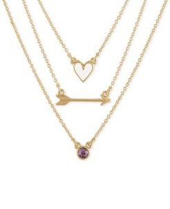"Gold-Tone 3-Pc. Set Heart, Arrow & Stone Pendant Necklaces, 17"" + 2"" extender"