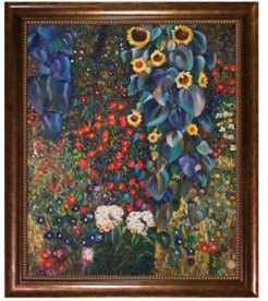 """By Overstockart Farm Garden with Sunflowers with Verona Cafe Frame, 24"""" x 28"""""""