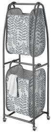 Everfresh 2-Tier Rolling Vertical Laundry Sorter with Hamper-Totes