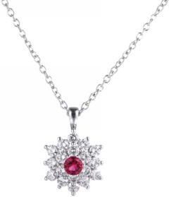 Silver-Tone Ruby Accent Flower Pendant Necklace