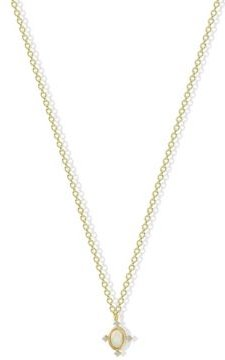 Synthetic Opal Pendant Necklace in 18k Yellow Gold over Sterling Silver