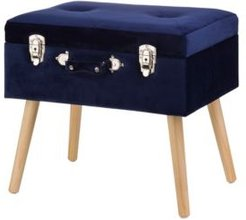 """19.7"""" L Velvet Upholstered Storage Stool with Natural Solid Rubberwood Legs"""