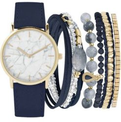 Navy Faux Leather Strap Watch 36mm Gift Set