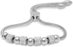 Stainless Steel Omega Drawstring Bracelet with Bead Rows