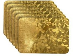 Reversible Metallic Shimmering Water Cube Dining Table Indoor Outdoor Placemats - Set of 6