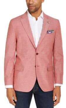 Mens Modern-Fit Stretch Chambray Sport Coat