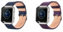Unisex Fitbit Blaze Assorted Genuine Leather Watch Replacement Bands - Pack of 2