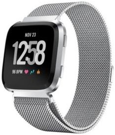 Unisex Fitbit Versa Silver-Tone Stainless Steel Watch Replacement Band